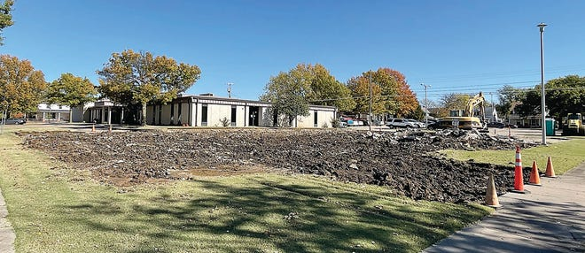 The southwest parking lot at the Education Service Center was demolished this month.