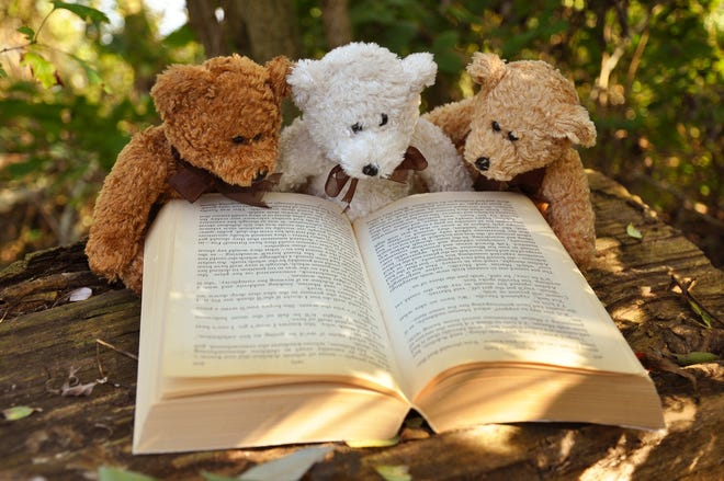 Reading with friends.