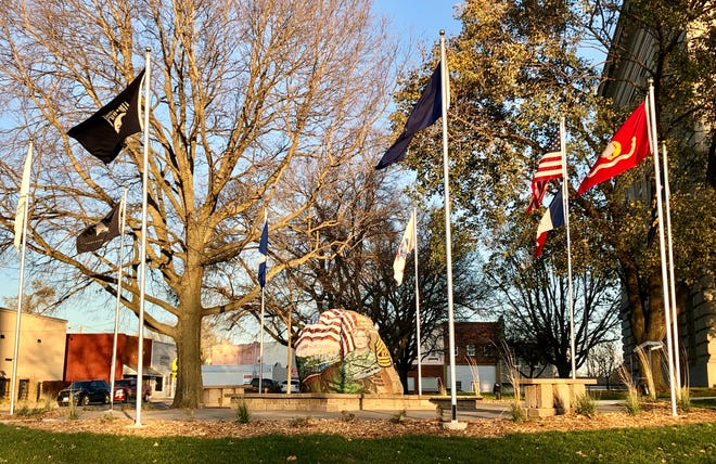 The Boone County Freedom Rock, located at the corner of W. Third Street and Main Street on the courthouse lawn, will be officially dedicated on Nov. 11, immediately following the annual Veterans Day ceremony put on by the Boone Veterans Council at Linwood Park Cemetery.