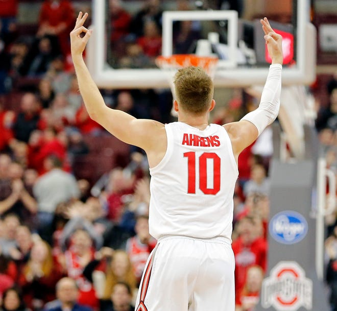 Ohio State Buckeyes forward Justin Ahrens (10) celebrates a three pointer against Purdue Boilermakers during the 2nd half of their game at Value City Arena in Columbus, Ohio on Janauary 23, 2019.  [Kyle Robertson/Columbus Dispatch]