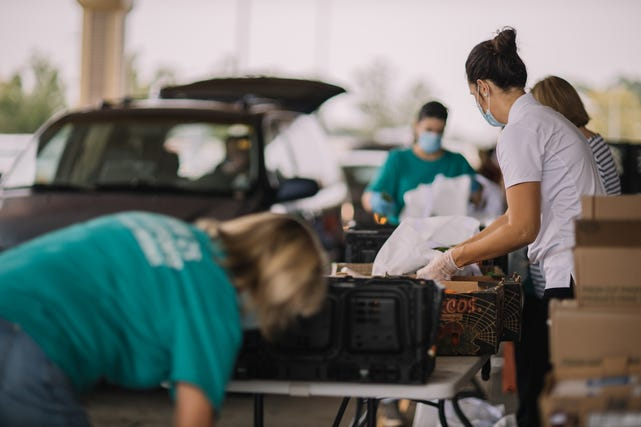 A recent Catholic Charities food distribution site.