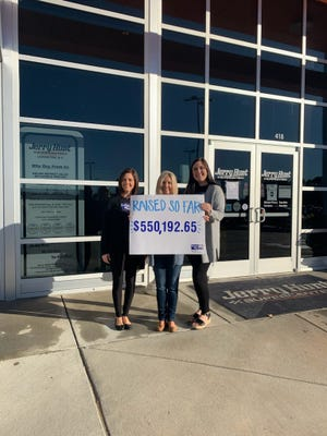 The United Way has raised over $550,000 toward its $1.35 million goal for the 2020-2021 campaign. Pictured, from left to right, are United Way President Kristie Hege, United Way Campaign Chair Jodi Hunt and United Way Community Impact Administrator Kirsten Jones.