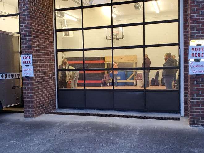 Voters wait inside the Welcome Volunteer Fire Department in northern Davidson County before 7 a.m. Tuesday to vote.