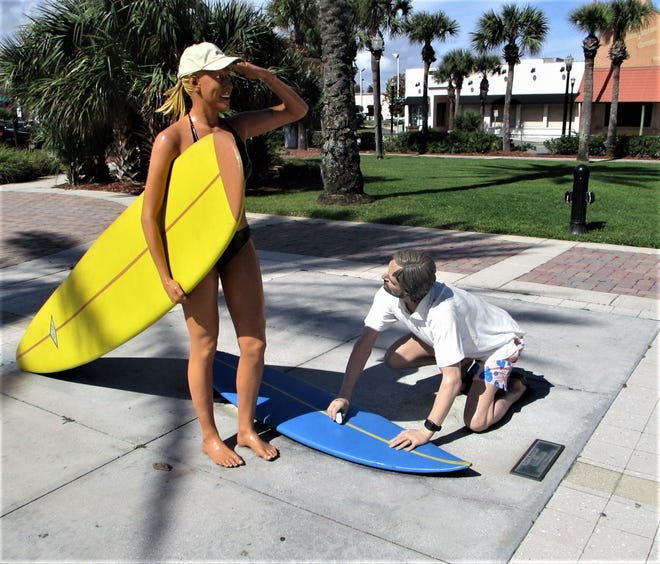 """Dawn Patrol"" by Seward Johnson at Latham Plaza in Jax Beach. The sculpture is just one of several public art displays around the area."