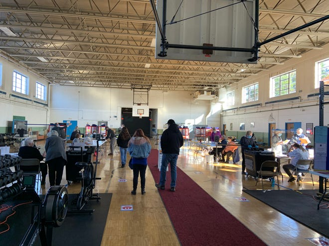 Voters in Ward 5 in Gardner cast their ballots at the National Guard Armory on Election Day.