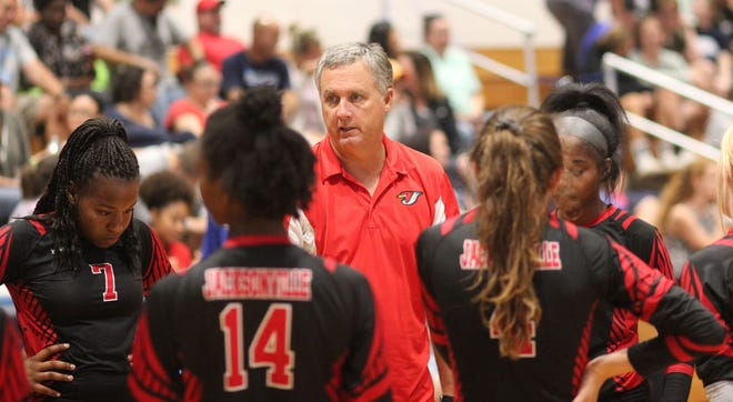 Jacksonville coach George Folger talks to his team during a match last season. [Chris Miller / The Daily News]