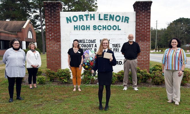 Karrie-Lyn Deaver, a senior at North Lenoir High School, is LCPS's nominee for the U.S. Presidential Scholars Program for CTE students. On hand for the announcement were, from left, Penny Lewis and Gina Cousins of the district's CTE staff; Brittany Harrison, district career development coordinator; North Lenoir principal Gil Respess; and Amy Jones, LCPS's director of high school education and CTE.
