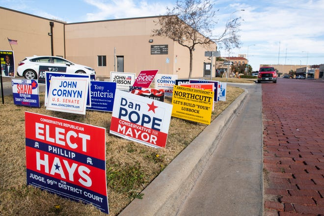 Campaign signs outside of the voting location at The Lubbock County Jury Pool building on Tuesday, Nov. 3, 2020, in Lubbock, Texas. [Justin Rex/For A-J Media]