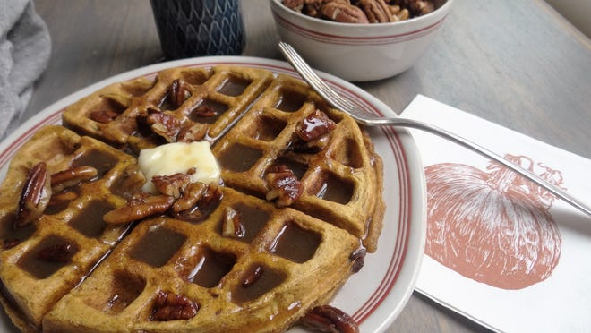 Sweet Butter-Pecan Sauce is the perfect way to top off these pumpkin waffles.