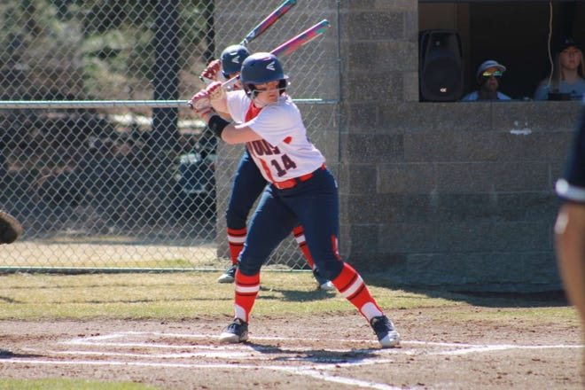 Ashley Cox of the College of the Siskiyous softball team, above, gained a third year of eligibility after her sophomore season ended last March due to COVID-19.