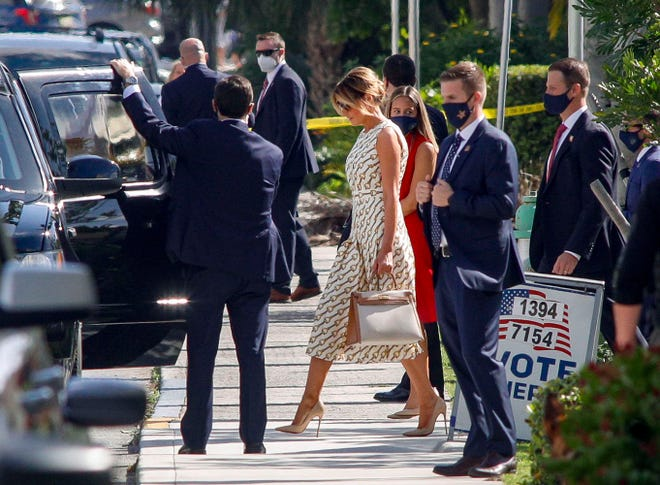 First lady Melania Trump exits the Morton and Barbara Mandel Recreation Center in Palm Beach after casting her vote in the 2020 presidential election. (DAMON HIGGINS/PALM BEACH DAILY NEWS)