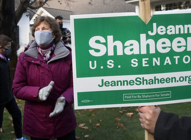 Sen. Jeanne Shaheen, D-NH, arrived at Madbury Town Hall greeted by supporters prior to her casting her ballot on Election Day, Tuesday, Nov. 3, 2020.