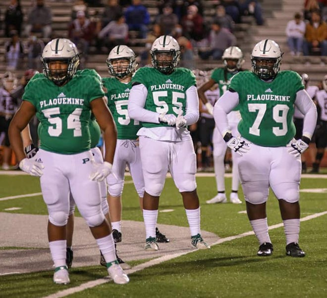 Plaquemine defenders, including sophomore Makahi Lee, junior Randy Thompson, senior J'Morion Georgetown and sophomore Jayden Rogers, combined to hold Belaire to minus-38 yards rushing in the Green Devil 56-20 rout over the Bengals in District 7-4A fare last Friday at Andrew Canova Green Devil Stadium. PHS visit Istrouma on Friday, Nov. 6 for a District 7-4A championship showdown.