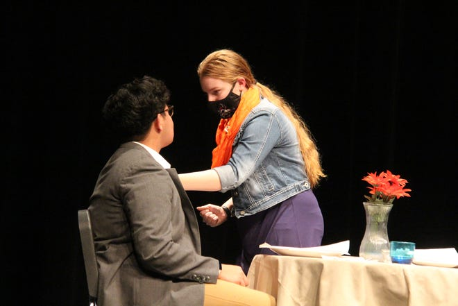 "Bryce Eastman gets in the face of Sebastian Hernandez during a recent rehearsal for Perry High School's production of ""Check Please."""