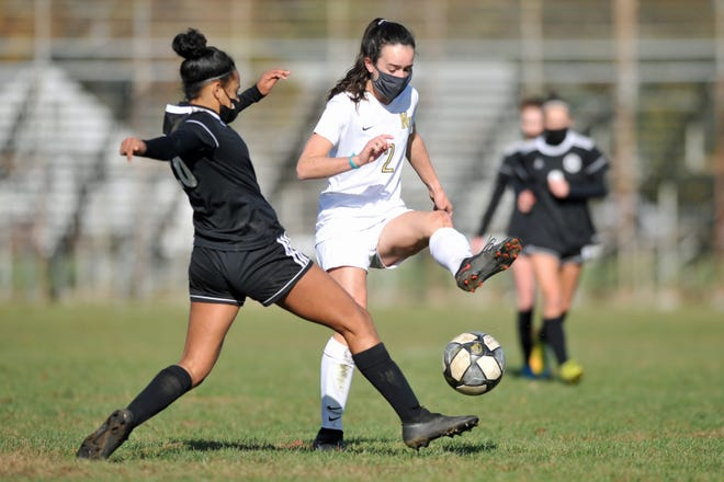 North Kingstown's Sadie Souls (right, in Tuesday's match against Pilgrim) scored twice on Thursday, helping the Skippers' upend Cumberland.