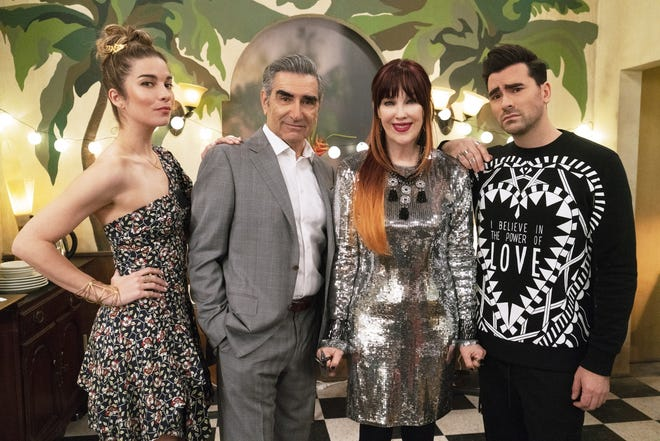 "From left, Annie Murphy, Eugene Levy, Catherine O'Hara and Dan Levy from the series ""Schitt's Creek."""