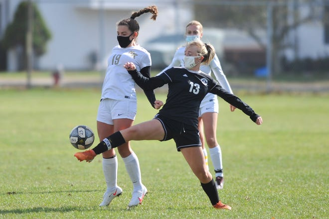 Lily Brown (right) and the Pilgrim girls soccer team were 3-0 winners over North Kingstown on Tuesday.