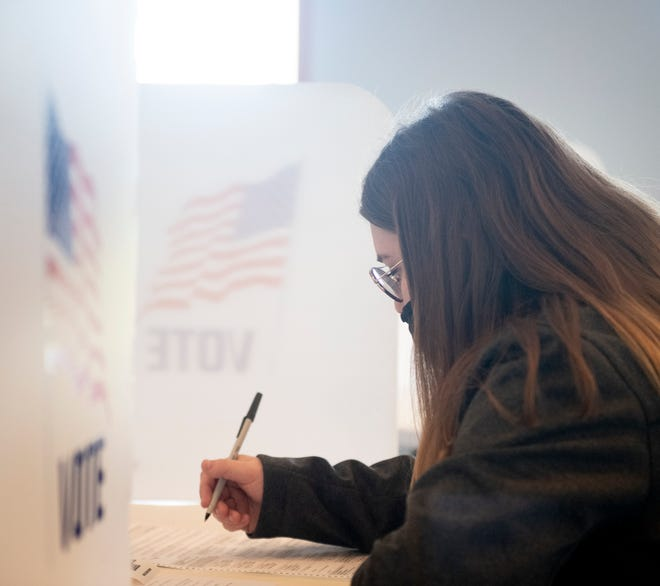 First time voter, Autumn Rogers, cast her ballot in Garrettsville at Life Church Assembly of God.