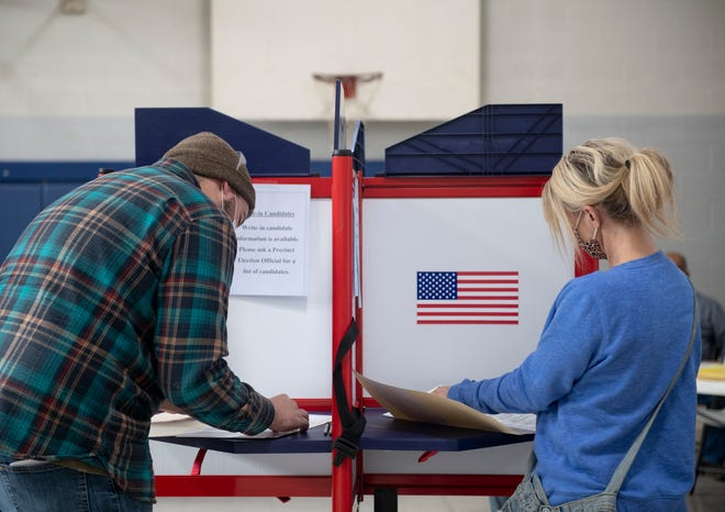 Election day in Portage County. Voters cast ballots at Mantua Center School.
