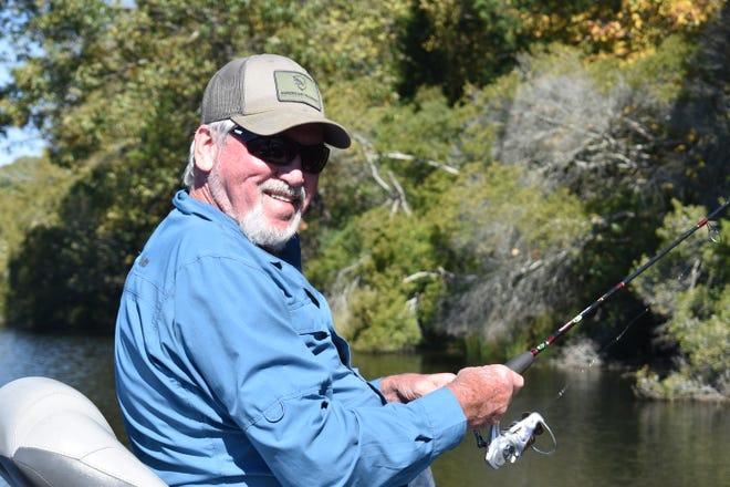 Bryant Sheets enjoying some bass fishing with Luke on a crisp fall day.