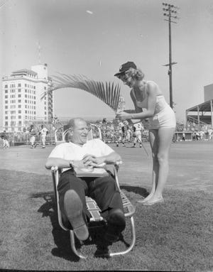 Bill Veeck, the Barnum of Baseball, at Sarasota's Payne Park.
