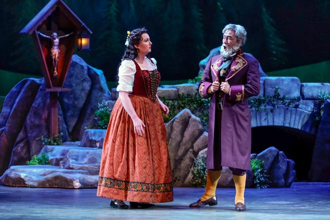 "Caitlin Crabill, left, and Young Bok Kim, seen here in last winter's production of ""La Wally,"" are featured in a series of Sarasota Opera concerts to be presented indoors and outdoors."