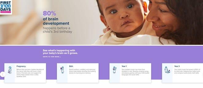 A screenshot of the First 1,000 Days Parent Portal