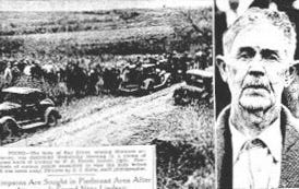 The remains of Shawnee attorney Ray Evans were found by farmer W.R. Massey , pictured on the right, in a field north of Lindsay on December 11, 1935.