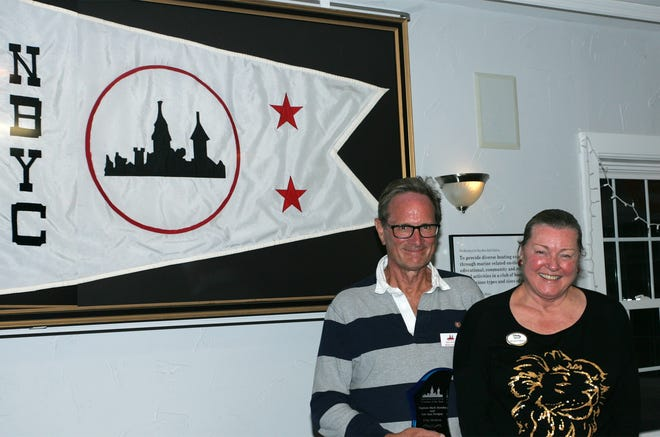 New Bern Yacht Club (NBYC) named Lee Ann Fordyce and Mark Hornby (pictured) its 2019 Cruisers of the Year at the Annual Cruisers Award Dinner on Oct. 27. The award, traditionally announced early in the year, was delayed due to pandemic restrictions on gatherings. Award recipients are honored based on enthusiasm, participation, and leadership in the club's boating programs. The outside event also included a video of the year's on-the-water activities. [CONTRIBUTED PHOTO]