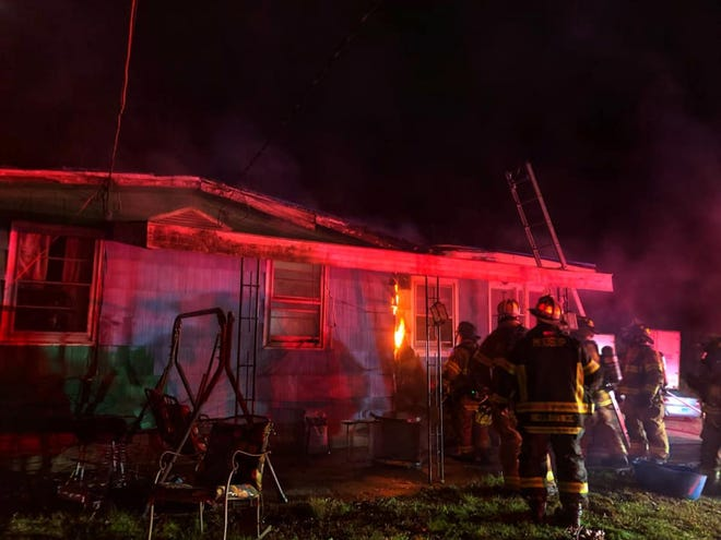 Spaulding Road fire in Plainfield on Monday