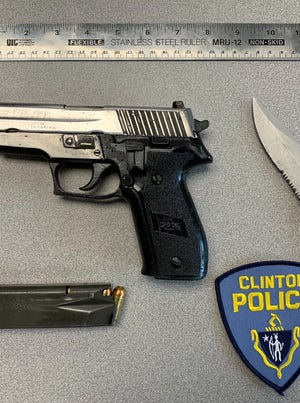 Clinton Police posted a photo of items confiscated from a man arrested early Sunday, Nov. 1.