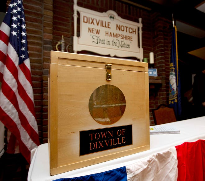 In this Monday, Nov. 7, 2016, photo, a ballot box is set for residents in Dixville Notch, N.H., to vote at midnight. One of two tiny New Hampshire communities that vote for president just after the stroke of midnight on Election Day.