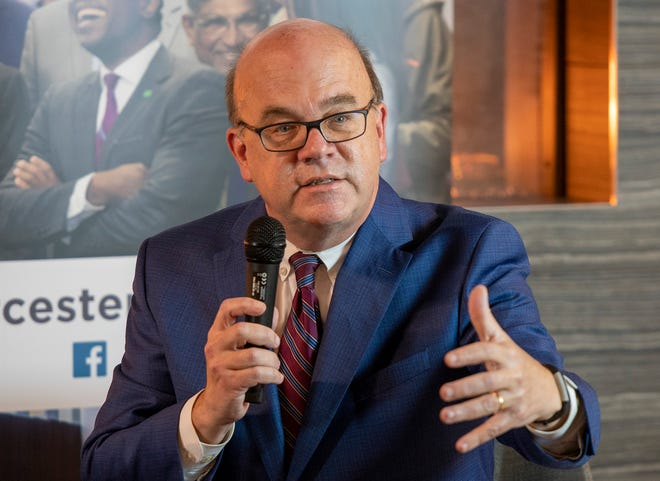 U.S. Rep. James McGovern, D-Worcester, debates challenger Tracy Lovvorn on Oct. 20 at the Mercantile Center in Worcester.