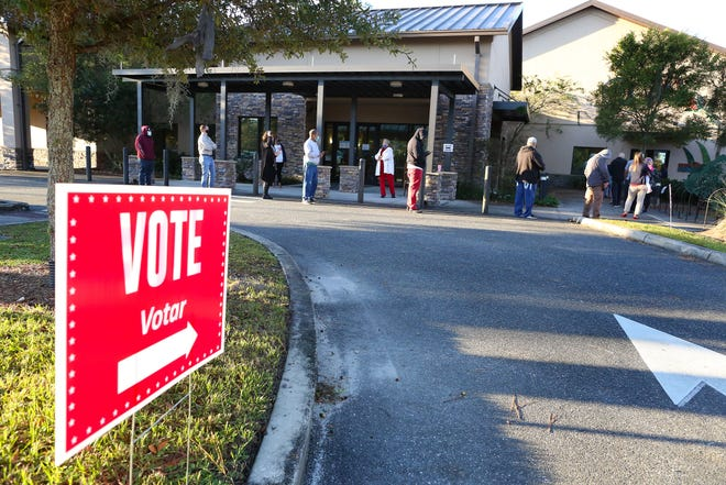 Residents stand in line to vote in the 2020 Presidential Election at the Senior Recreation Center in Gainesville Fla., Nov. 3, 2020. Early voting numbers in Alachua Count have been very high, so lines at polling locations on Election Day have been relatively small.