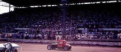 Walt Pickard competes at the 10th annual National Modified Jalopy Championship Races on July 31, 1966 in Hutchison, Kansas. [Courtesey photo/kansasracinghistory.com