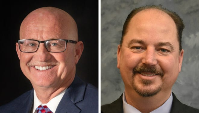 Hesperia City Council District 5 candidates incumbent Mayor Larry Bird, left, and Hesperia Unified School District Board Clerk Mark Dundon in undated photos.