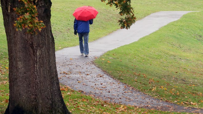 A pedestrian with an umbrella moves along the path at Lions Park in Bremerton on Tuesday, Nov. 3, 2020.