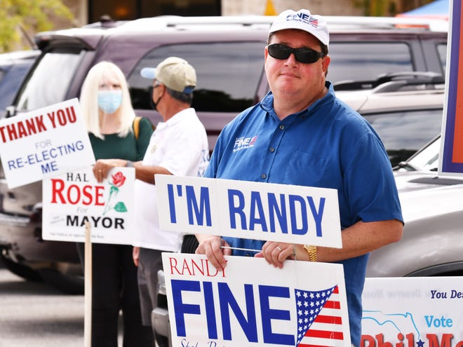 Rep. Randy Fine, seen here on Election Day 2020 in West Melbourne, introduced a bill to strip undocumented students who attended high school in Florida of in-state tuition benefits.