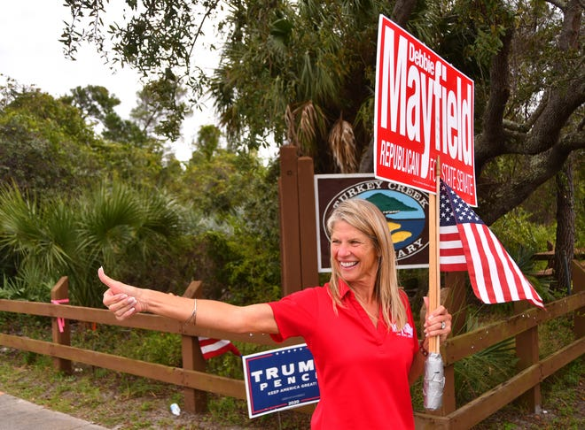 Election Day scenes in Palm Bay, Senator Debbie Mayfield out at the community center.