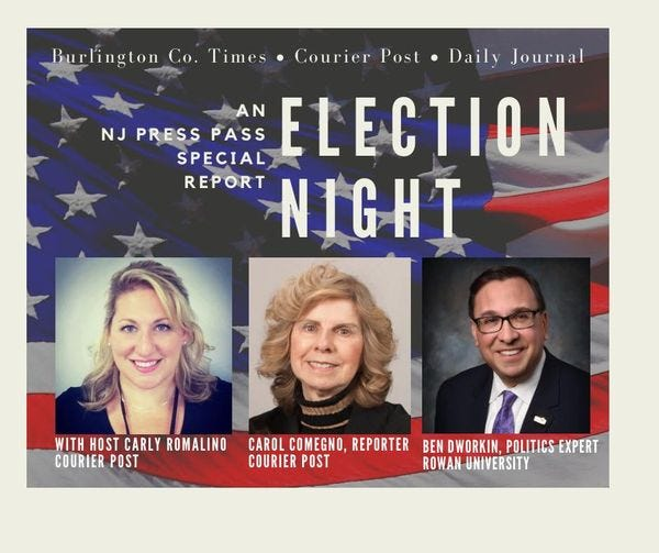 NJ Press Pass is live on Election Night. 6 p.m. on Facebook.