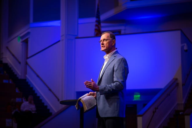 Dr. Ronny Raines gives a-view-to-a-call sermon at First Baptist Clarksville on Sunday, Nov. 1, 2020, prior to being approved for the senior pastor position by the church congregation.