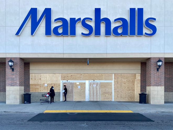 Marshalls boarded up at least two stores in metro Detroit, one in Dearborn and this one in Detroit, ahead of Election Day.