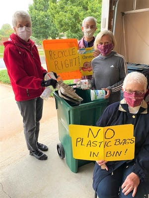 Members of the recycling committee of Sustain Fond du Lac include, from left, are Peg Bradley, Sister Ruth Battaglia, Louise Borzcik, and Carol Smith.