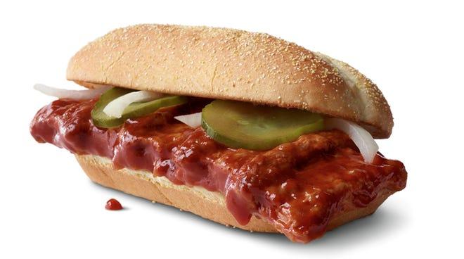 McDonald's will bring back the McRib barbecue sandwich Dec. 2.