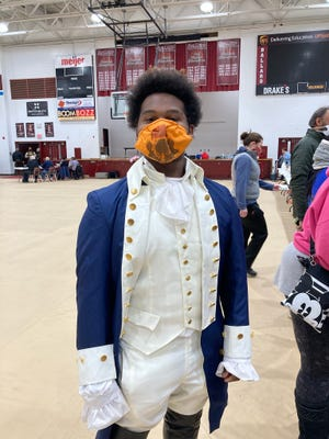 Michael Daniels, a first-time voter in Louisville, Ky., dressed up as Alexander Hamilton when he visted the polls at Ballard High School on Nov. 3.