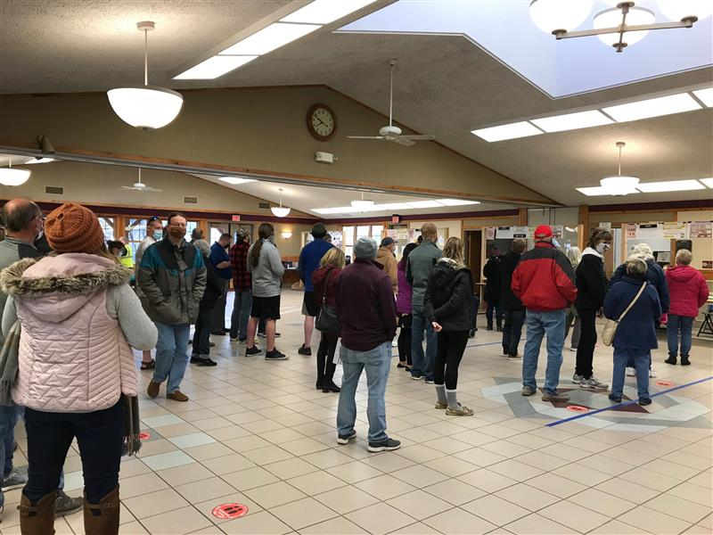 The early turnout at Wildwood Station in Marshfield was much larger than in previous elections.