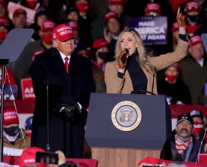 President Donald Trump's daughter-in-law, Lara Trump, speaks at a campaign rally in Kenosha, Wisconsin, in November. Lara Trump, a Wilmington native, has been talked about as a candidate for the U.S. Senate.