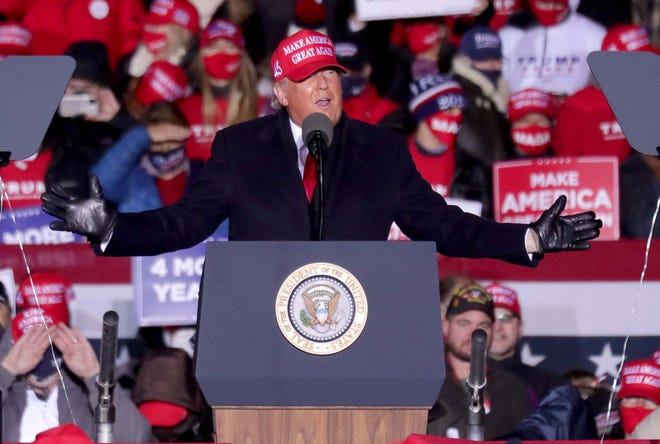 President Donald Trump speaks at a rally in Kenosha during the 2020 campaign.