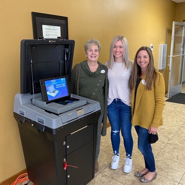 Three generations of one family voted early Monday at the First United Methodist Church early voting center in Mountain Home. Shown above are (from left) Jeannie Barron Walker, Grace Hilvert and Heather Harrison Hilvert. This was the first election for Grace Hilvert, 18, to participate in.