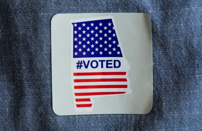 The #VOTED sticker handed out after voting in Montgomery, Ala., on Election Day Tuesday November 3, 2020.
